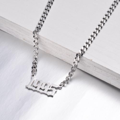 Collar de Acero Inoxidable con Año de Nacimiento de Varias Capas -SSNEG142-32597