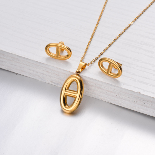 18k Gold Plated Botton Necklace Earrings Sets -SSCSG143-32468
