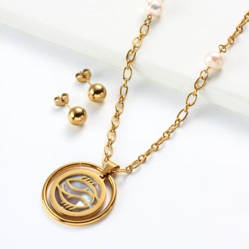 Conjuntos de collar con colgante de madreperla del zodiaco chapado en oro de 18k -SSCSG142-31965
