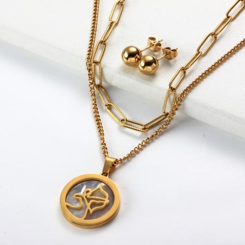 Conjuntos de collar de múltiples capas con colgante de madreperla del zodiaco chapado en oro de 18k -SSCSG142-31952