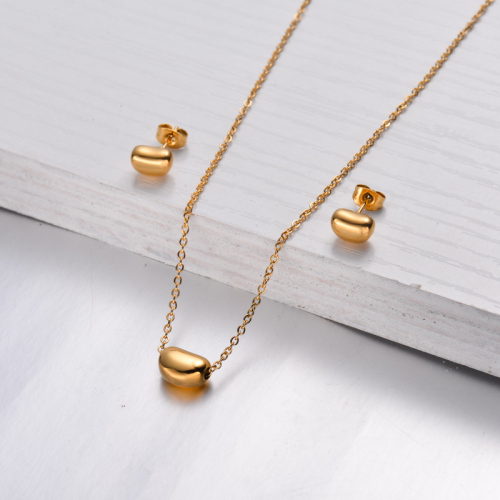 18k Gold Plated Bean Necklace Earrings Sets -SSCSG143-32463
