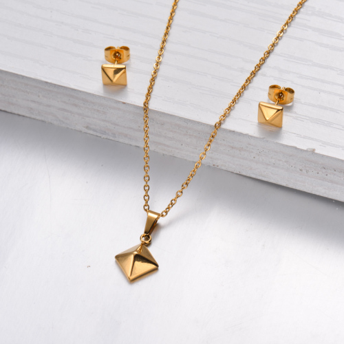 18k Gold Plated Pyramid Necklace Earrings Sets -SSCSG143-32472