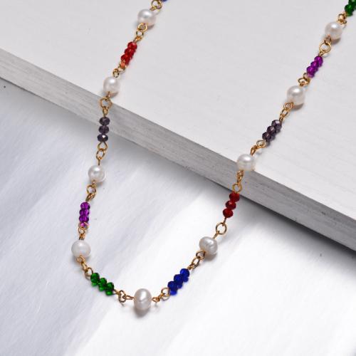 Collar de Perlas de Cuentas Multicolor -SSNEG142-32531