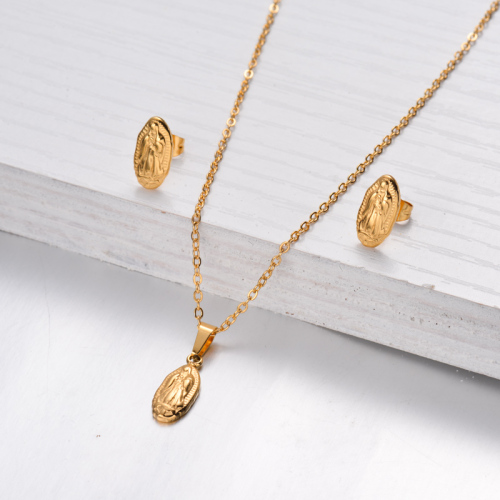 18k Gold Plated San Benito Necklace Earrings Sets -SSCSG143-32478