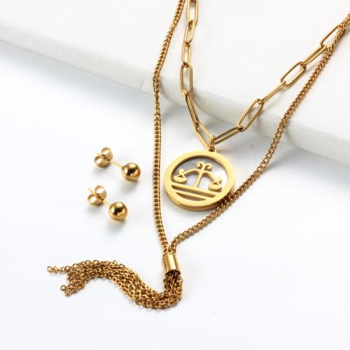 Conjuntos de collar de múltiples capas con colgante de madreperla del zodiaco chapado en oro de 18k -SSCSG142-31961