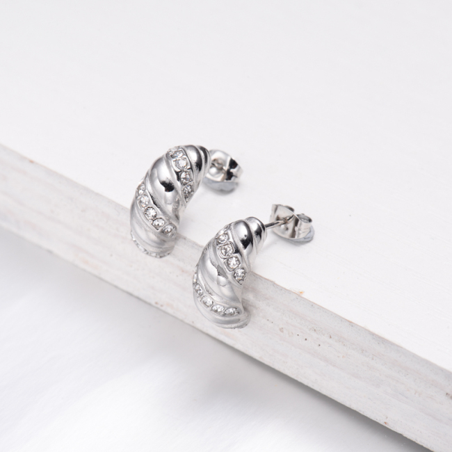 Boucles d'oreilles créoles en cristal C en acier inoxydable -SSEGG143-32504