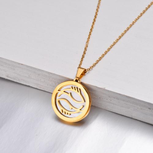 Collar Zodiaco Chapado En Oro De 18 Quilates Para Niña -SSNEG142-32522