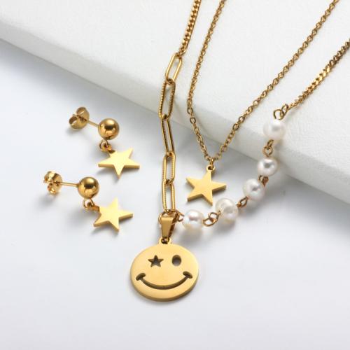 Conjuntos de collar de perlas en capas de acero inoxidable Smile Star -SSCSG142-31967
