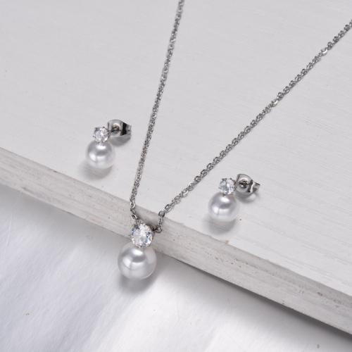 Conjuntos de joyas de perlas de circón de acero inoxidable -SSCSG143-11349
