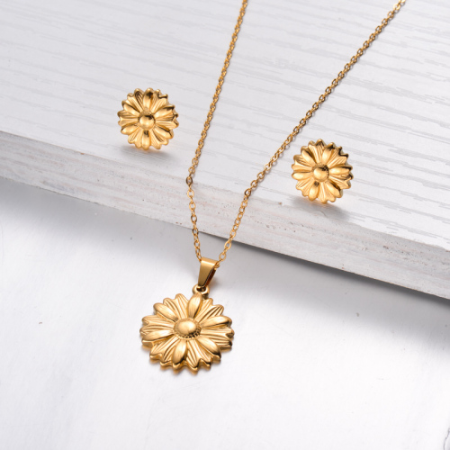 18k Gold Plated Sunflower Necklace Earrings Sets -SSCSG143-32467