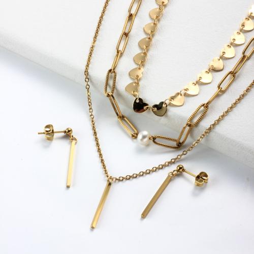 Conjuntos de Collar de Perlas Chapadas en Oro de 18k -SSCSG142-31954