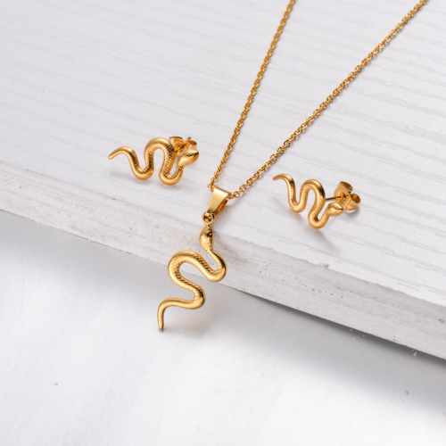 18k Gold Plated Snake Necklace Earrings Sets -SSCSG143-32480