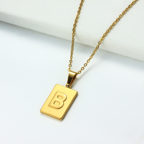18k Gold Plated Personalized Rectangle Initial Letter Necklace SSNEG143-32437