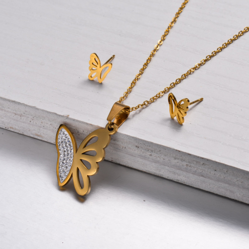 18k Gold Plated Butterfly Jewelry Sets -SSCSG143-32816