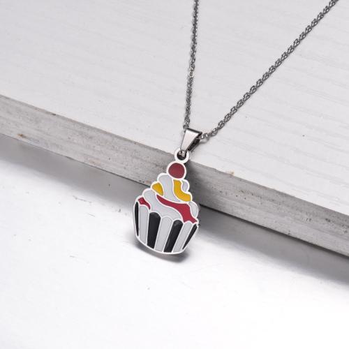 Collier pendentif mignon en émail en acier inoxydable pour enfants -SSNEG143-33029