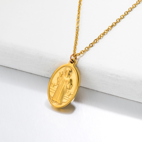 18k Gold Plated San Benito Medal Pendant Necklace -SSNEG143-32747