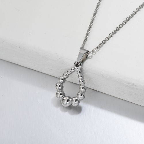 Stainless Steel Oval Pendant Necklace -SSNEG143-32701