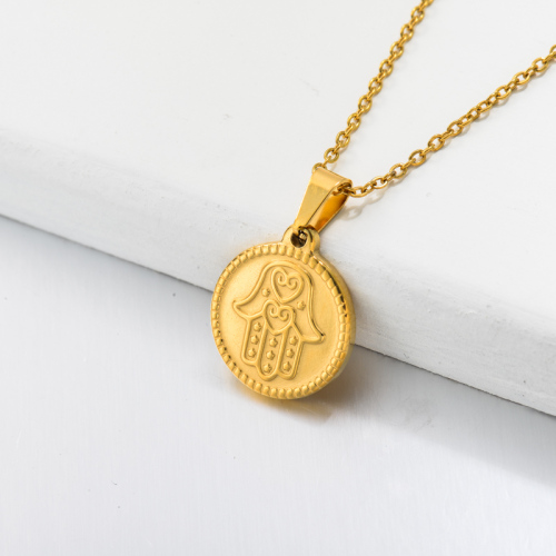 Collier Pendentif Main Hamsa Mauvais Oeil Plaqué Or 18 Carats -SSNEG143-32683