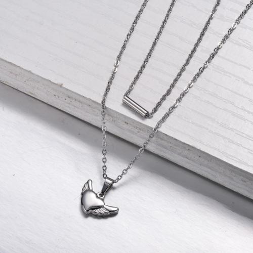 Collier en couches en forme de cœur en acier inoxydable -SSNEG143-33020