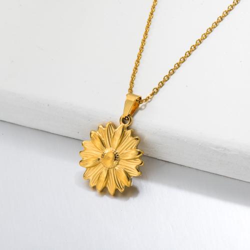 Collar Colgante Girasol Bañado en Oro 18k -SSNEG143-32664