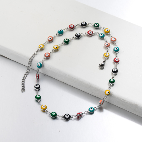 Stainless Steel Evil Eye Link Chain Necklace -SSNEG143-32753