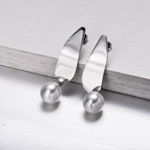 Pendientes Gota de Perlas de Acero Inoxidable -SSEGG143-32862