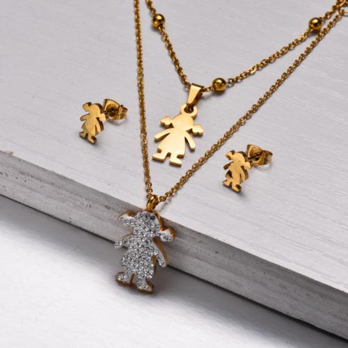 Conjuntos de Joyas de Cristal Chapado en Oro de 18k -SSCSG143-32857