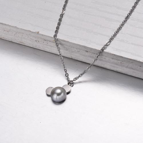 Collar con Colgante de Perlas de Acero Inoxidable -SSNEG143-32833