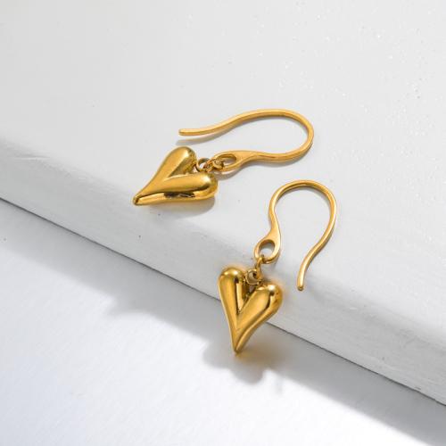 Pendientes Gota Corazón Bañados en Oro 18k -SSEGG143-32801