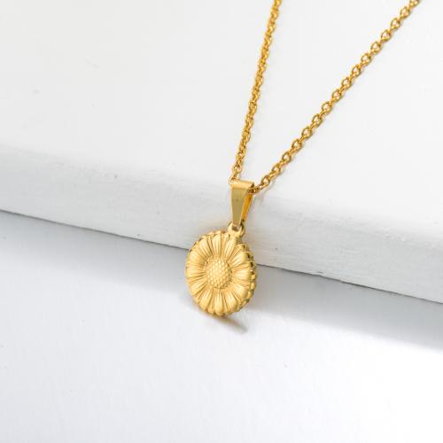 Collar Colgante Girasol Bañado en Oro 18k -SSNEG143-32652