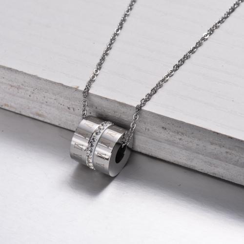 Collar con Colgante de Tubo de Cristal de Acero Inoxidable -SSNEG143-32900