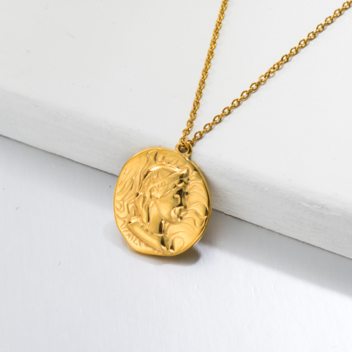 18k Gold Plated Medal Coin Pendant Necklace -SSNEG143-32734