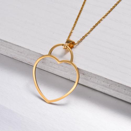 Collar con Colgante Corazón Bañado en Oro 18k -SSNEG143-32897
