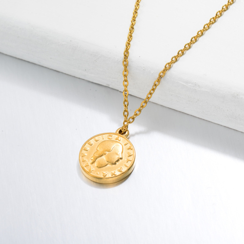 18k Gold Plated Medal Coin Pendant Necklace -SSNEG143-32728
