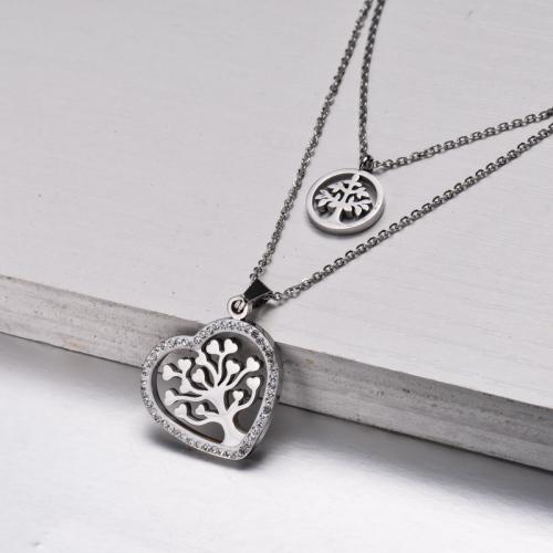 Collar Capa Árbol de la Vida de Cristal de Acero Inoxidable -SSNEG143-32843