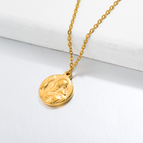 18k Gold Plated San Benito Medal Pendant Necklace -SSNEG143-32729