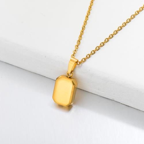 Collar con Colgante Rectángulo Chapado en Oro 18k -SSNEG143-32667