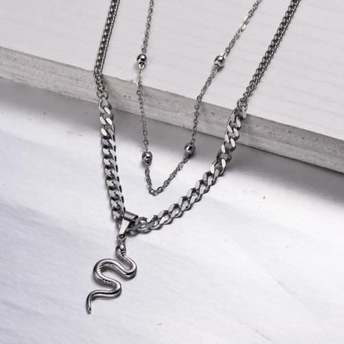 Collier en couches serpent en acier inoxydable -SSNEG143-32970