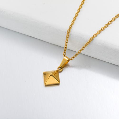 Collier Pendentif Pyramide Dainty Plaqué Or 18 Carats -SSNEG143-32684
