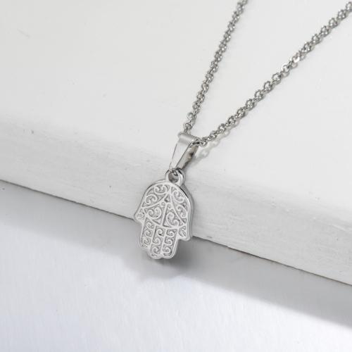 Stainless Steel Hamsa Hand Pendant Necklace -SSNEG143-32699