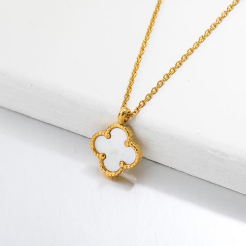 Collar Con Colgante Trébol De Perlas Monther Chapado En Oro 18k -SSNEG143-32663