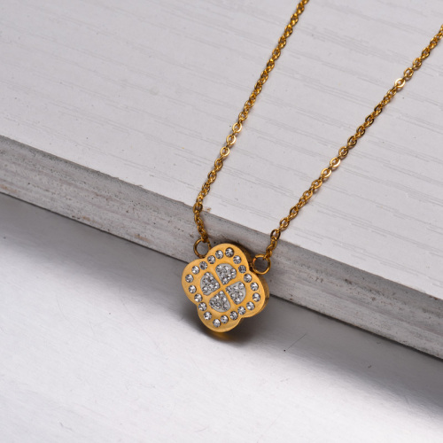 18k Gold Plated Crystal Clover Pendant Necklace -SSNEG143-32891