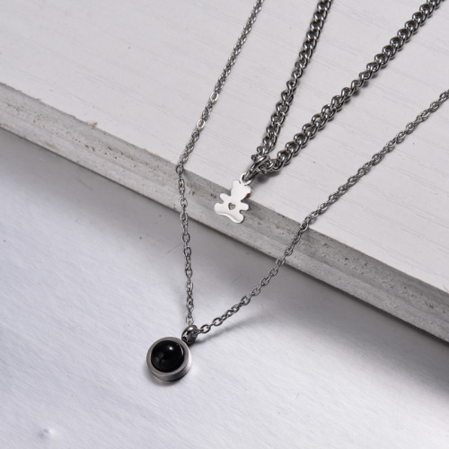 Stainless Steel Layered Necklace -SSNEG143-32893