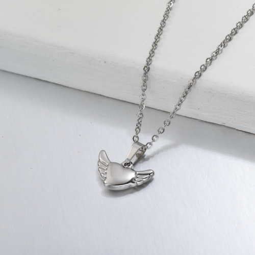 Stainless Steel Wing Heart Pendant Necklace -SSNEG143-32704