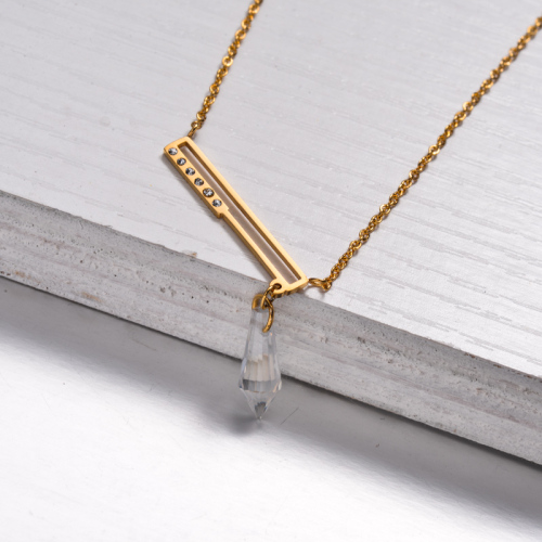 18k Gold Plated Crystal Bar Pendant Necklace -SSNEG143-32892