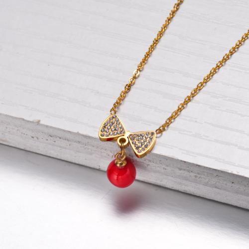 Collar Colgante Cinta Roja Chapado En Oro 18k -SSNEG143-32831