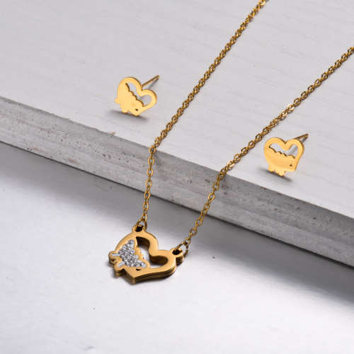 18k Gold Plated Heart Butterfly Jewelry Sets -SSCSG143-32818