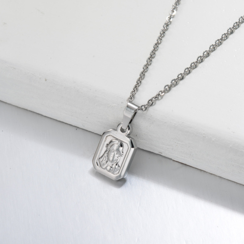 Stainless Steel San Benito Medal Pendant Necklace -SSNEG143-32709