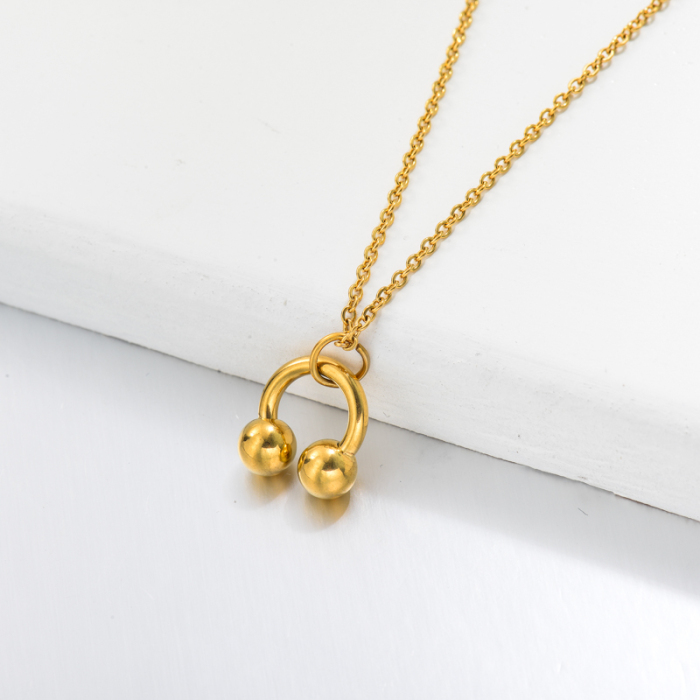 18k Gold Plated Head Phone Pendant Necklace -SSNEG143-32761
