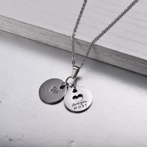 Collar con Colgante Love Disc de Acero Inoxidable -SSNEG143-32847